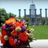 Floral arrangement in front of Jesse Hall